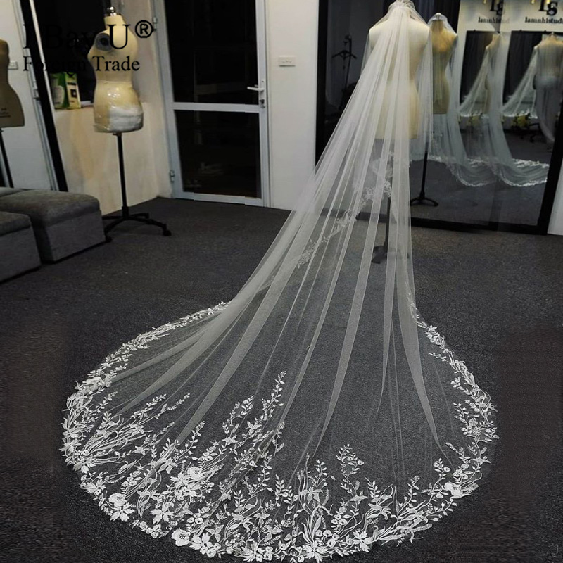 1 Layer Vintage Bridal Veil Cathedral Length Tulle Long Luxury Lace Wedding Veil For Bride Accessories With Comb Hot Sale
