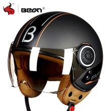 BEON 오토바이 헬멧 헬기 3/4 오픈 얼굴 빈티지 모토 헬멧 모토 Casque Casco Capacete 남자 여자 스쿠터 오토바이 헬멧