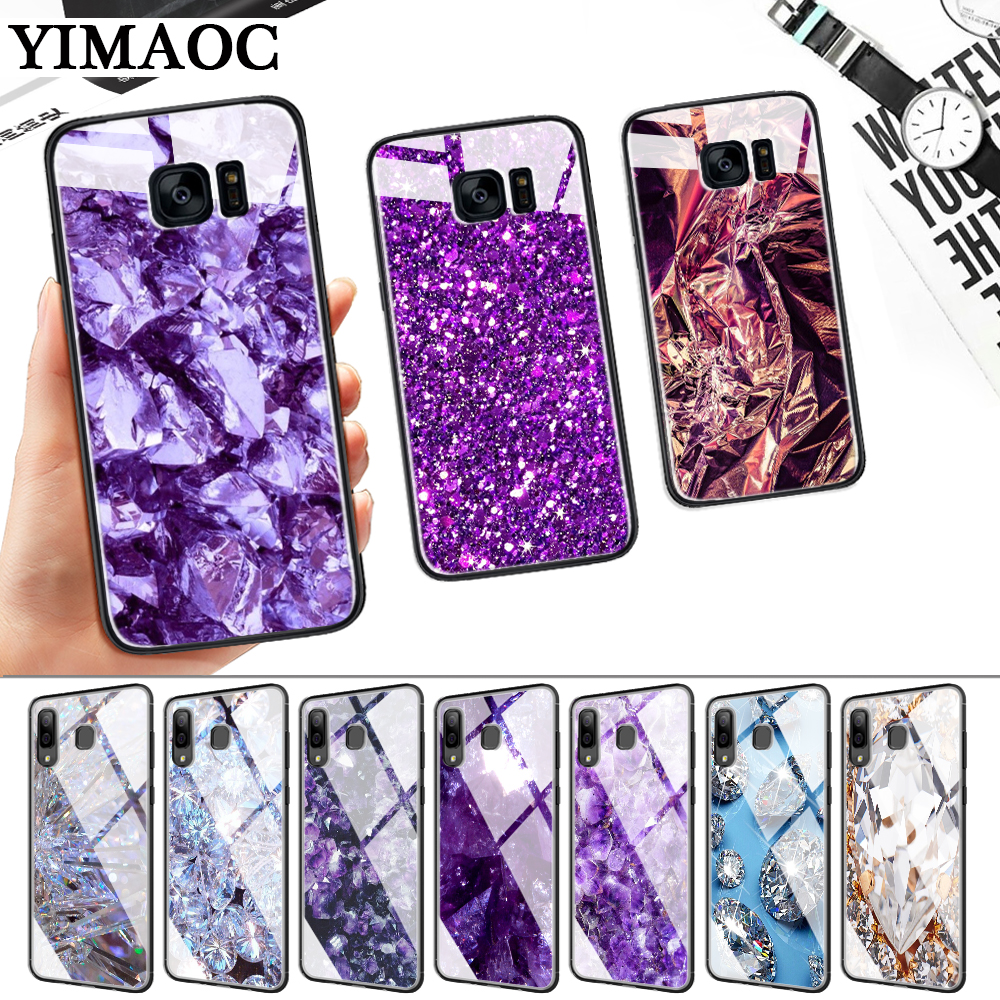 Diamond Pieces pattern Glass Case for Samsung S7 Edge S8 S9 S10 Plus S10E Note 8 9 10 A10 A30 A40 A50 A60 A70