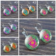 Fashion Fine Hamsa Hand Silver Earring Amulet Handmade Hook Birthday Gifts Women Jewelry