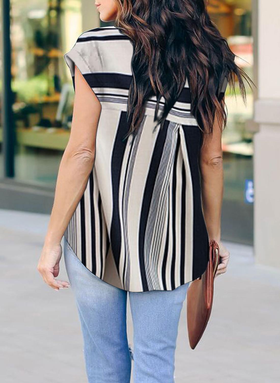 New Arrive 2020 WomenS Summer Print Vertical Striped Chiffon V-neck Zipper Shirt Female Short Sleeve Loose Straight Casual Tops