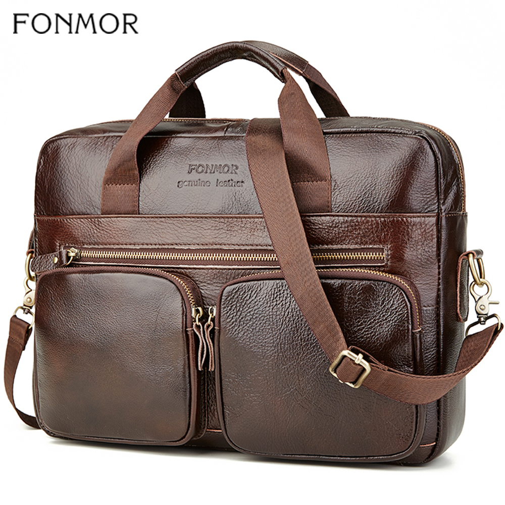 Fonmor Genuine Leather Briefcase For Men Cowhide Big Totes Handbag Male Brown Business 14'' Laptop Hand Bags With Zipper Pocket