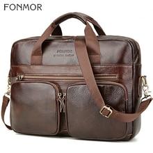 Fonmor حقيبة جلدية حقيقية للرجال جلد البقر حقيبة يد كبيرة الذكور براون الأعمال 14 محمول حقائب اليد مع جيب سستة
