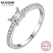 ELESHE 2019 Classic Luxury Real Solid 925 Sterling Silver Rings Square Zircon Crystal Rings Wedding Engagement Jewelry For Women