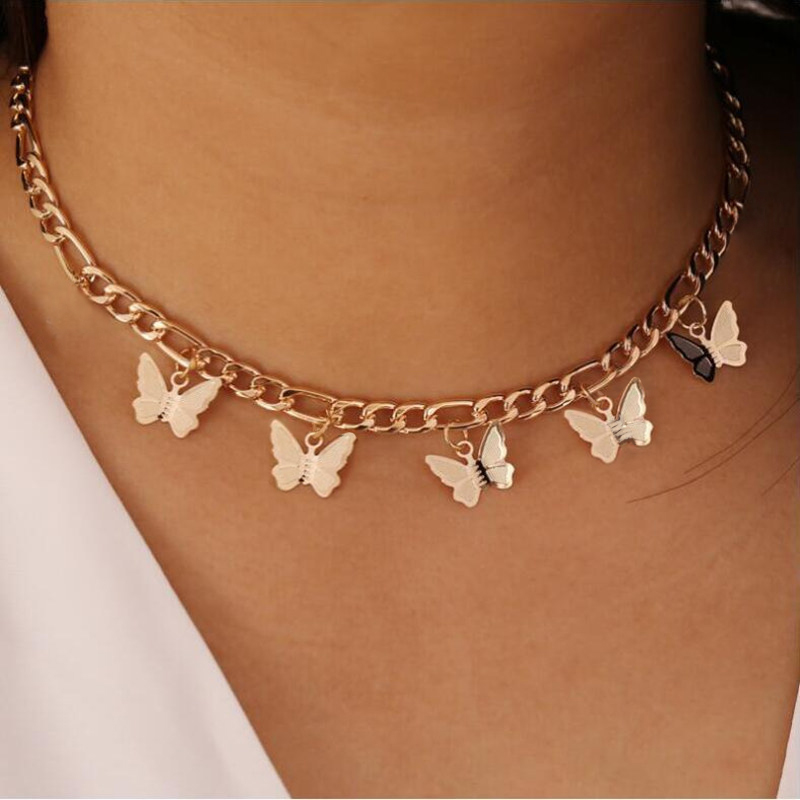 Goth Butterfly Neck Pendants Women's Choker Gold Color Necklace On The Neck Chain Chocker Punk Jewelry 2021 Kpop Collar For Girl