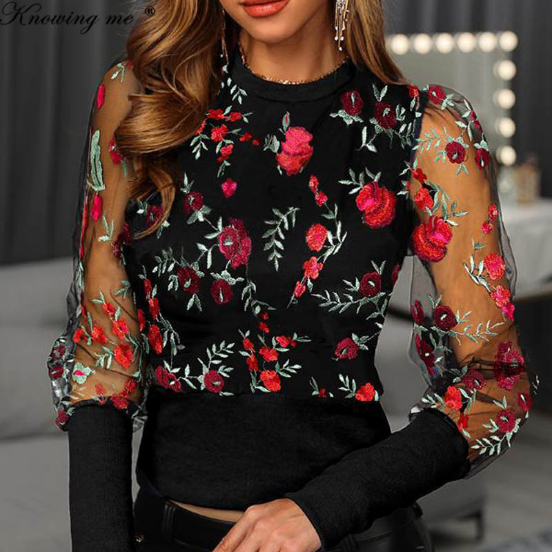 New Embroidery Floral Sheer Mesh Sleeve Blouse Shirts Women 2020 Spring Patchwork Blusa Pullovers Elegant Sexy See Through Tops