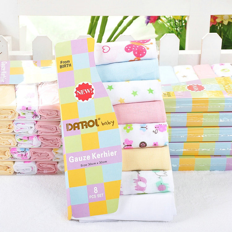 8pcs / lot 100% Cotton Newborn Baby Towel Saliva Towel Nursing Handuk - Penjagaan bayi