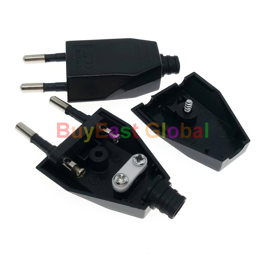5 PCS EU Europlug Type C Rewireable Power Plug AC100~220V 2.5A White