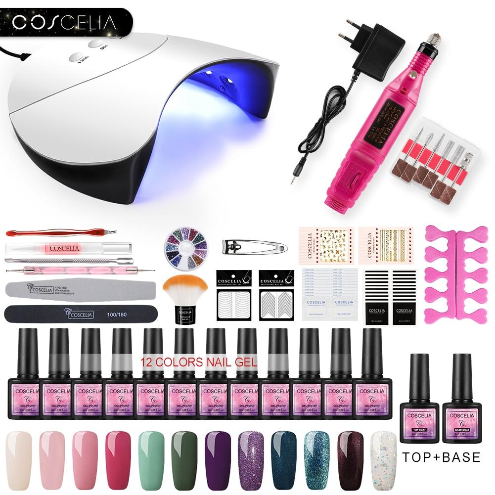 COSCELIA New Manicure Set UV LED USB Lamp Dryer Nail Extension Gel Set Tools For Manicure Machine Nail Art Nail Polish Gel Kits