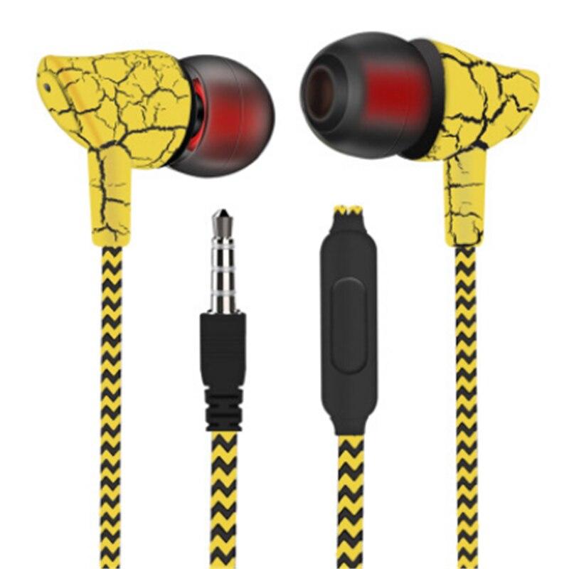 Sport przewodowe słuchawki douszne słuchawki Super Bass 3.5mm Crack słuchawki muzyczne słuchawki douszne z mikro bez użycia rąk zestaw słuchawkowy do iPhone'a z systemem Android MP3 MP4