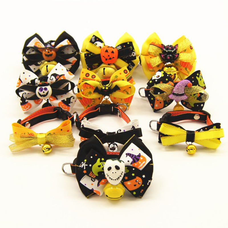Halloween New Cat And Dog Bow Tie Collar Original Funny bow Small Bell Cute Supplies Traction