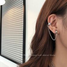 Goth Metall Runde Clip Auf Ohrringe Für Frauen Koreanische Kette Design Gefälschte Piercing Hip Hop Ohr Manschette Nette Earcuff Mode schmuck 2020