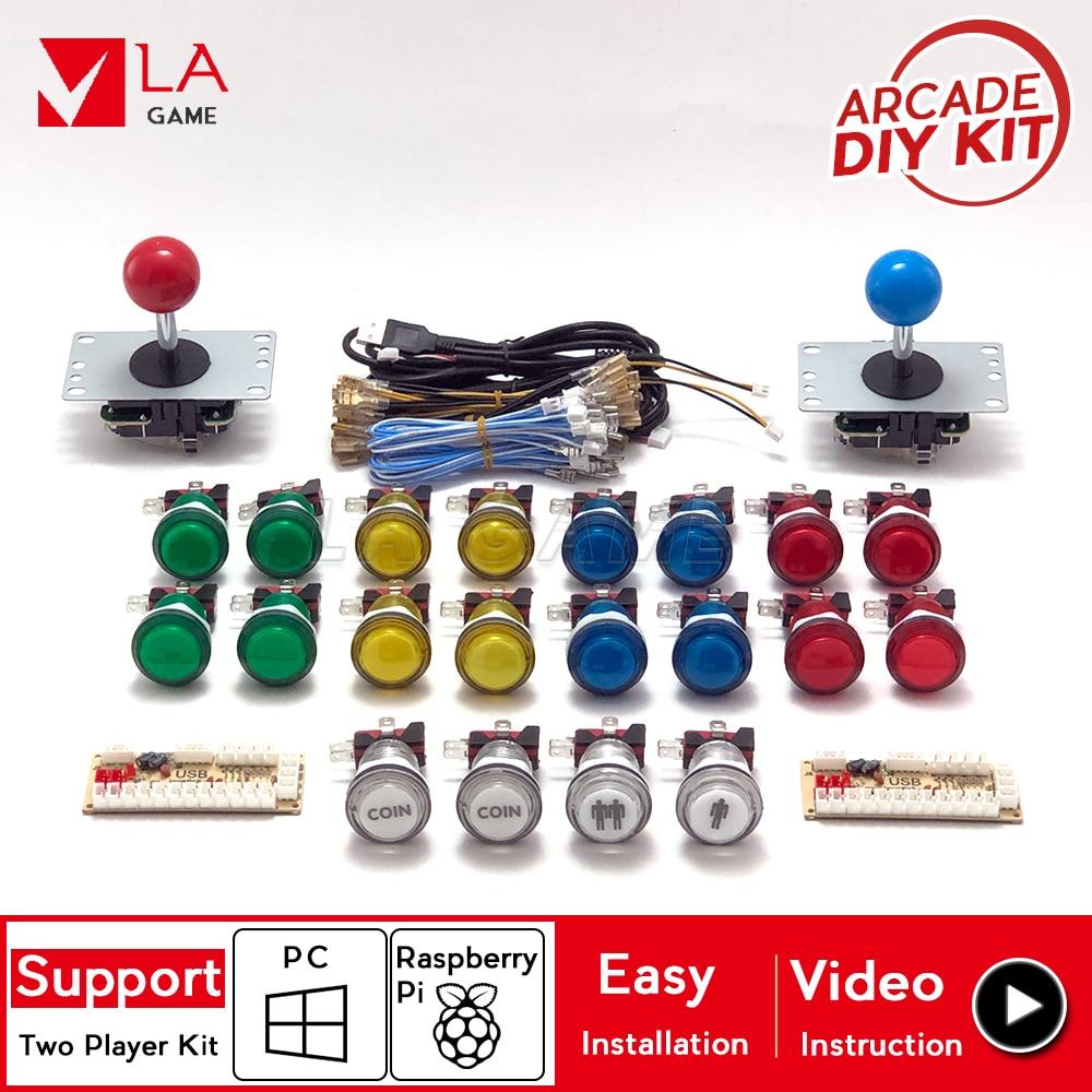 Аркадный набор, 2 игрока, zero delay mando, usb энкодер для ПК Rasberry PI 33 мм, светодиодный кнопочный джойстик, usb аркадный шкаф