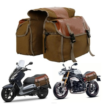 Canvas Motorcycle Saddle Bags Waterproof SaddleBags For Luggage Travel Knight Rider Touring Box