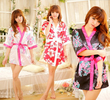 Sexy Japanese Flower Floral Kimono Dress Lingerie Bathrobe Dressing Gown Nightgown Sleepwear Sauna Costume