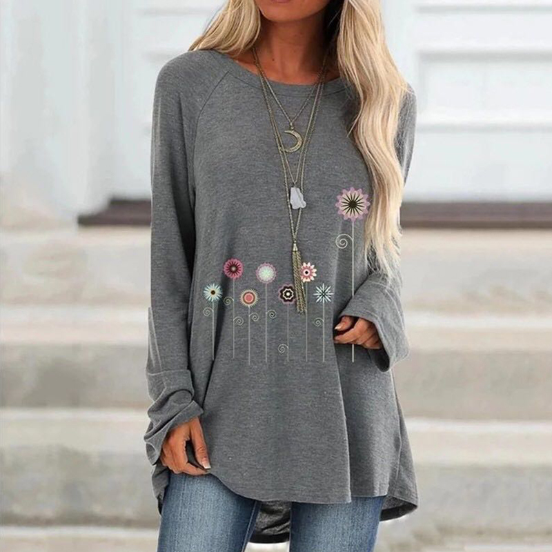Loose Female Blouses Tunic Casual O Neck Long Sleeve Womens Tops And Blouses Autumn Spring Plus Size 2020 S-5XL Dropshipping