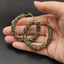 Новые модные серьги обруча для женщин Цвет Bling bling круглые геометрические серьги ювелирные изделия для Свадебные бриллианты