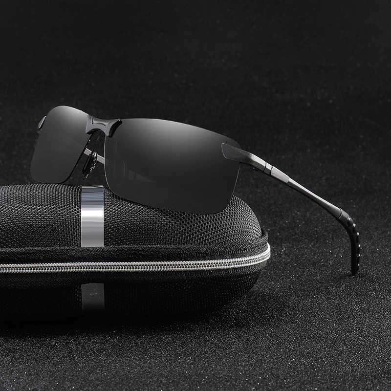 Marka mężczyźni plac spolaryzowane okulary metalowe bez oprawek odcienie mężczyźni jazdy okulary moda UV400 okulary lentes de sol hombre
