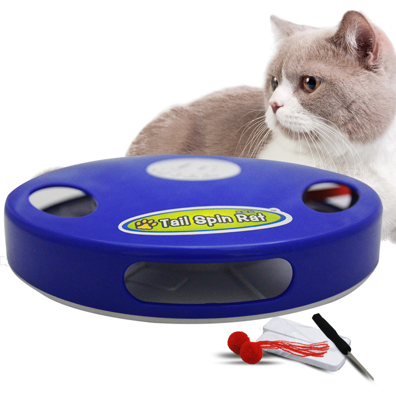 Pet Electric Smart Interactive Funny Cat Stick Feather Automatic Kitten Cat Dog Toy Game Mouse Squeak Tail Spin Rat Feather Toys