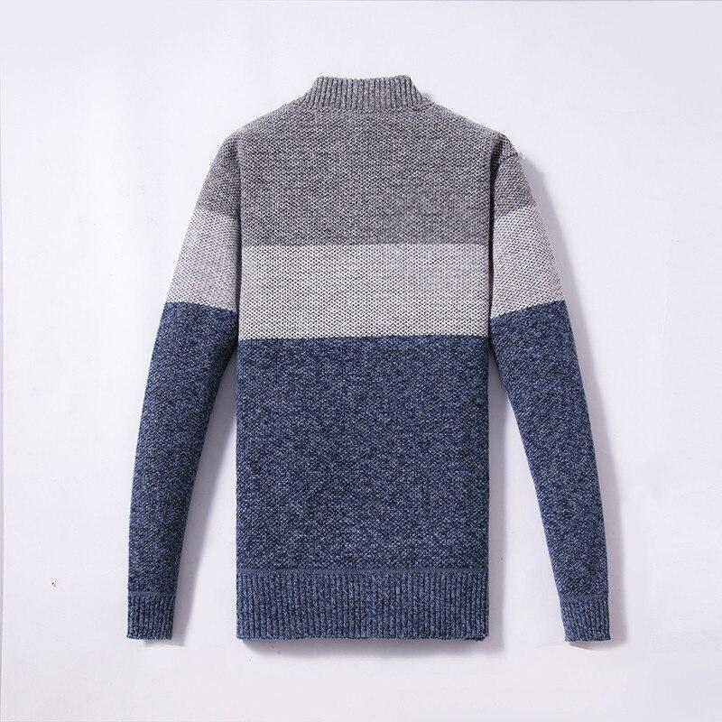 Korean Modis Men Winter Sweater Zipper Cardigan Warm Knitted Male Sweater Stripe Thick Top Overcoat Streetwear Men Sweater 2