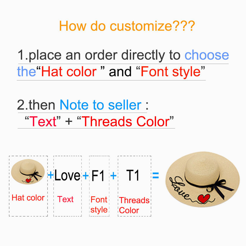 Embroidery Personalized Custom Text LOGO Embroidery Women Sun Hat Large Brim Straw Hat Outdoor Beach hat Summer Cap Dropshippin 2
