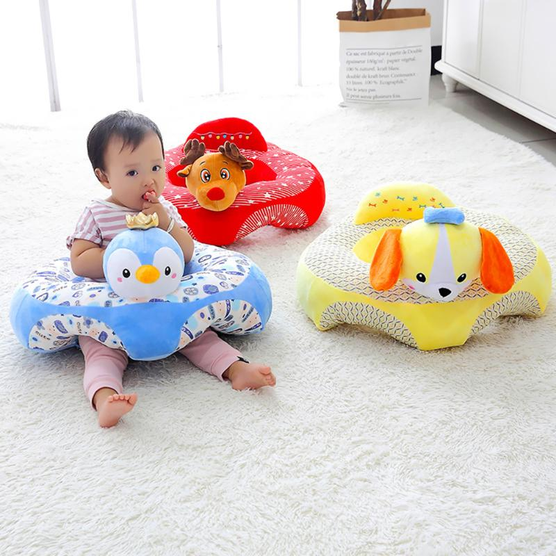 Cartoon Baby Sofa Cut Animal Shape Infants Feeding Seat  Support Seat Learning Sitting Safety Care Toddle Chair With Filling