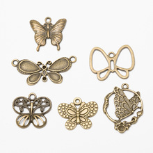 цена 6pcs/set Butterfly Charms Pendants Bracelets Necklaces Anklet Brooch Earrings Handmade Crafts Accessories for Jewelry Making DIY онлайн в 2017 году