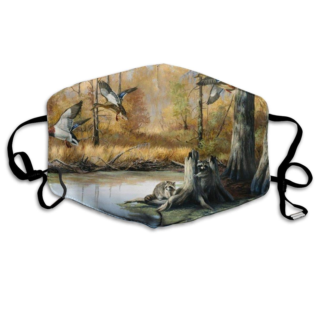 Mouth Mask Hunting Flying Wild Ducks Print Masks - Breathable Adjustable Windproof Mouth-Muffle, Camping Running For Women And