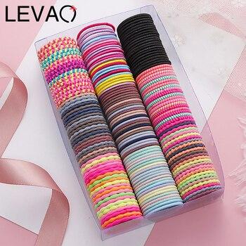 Levao 50 шт./лот новые милые цветные базовые эластичные резинки для волос для девочек резинки для галстука резинки Детские Модные резинки для волос