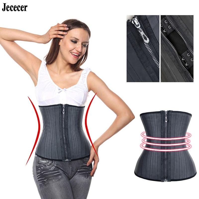 Jececer Modeling Strap Corset Latex Waist Trainer with Zipper Belly Slimming Sheath Belt Waist Cincher 25 Steel Boned Shaper