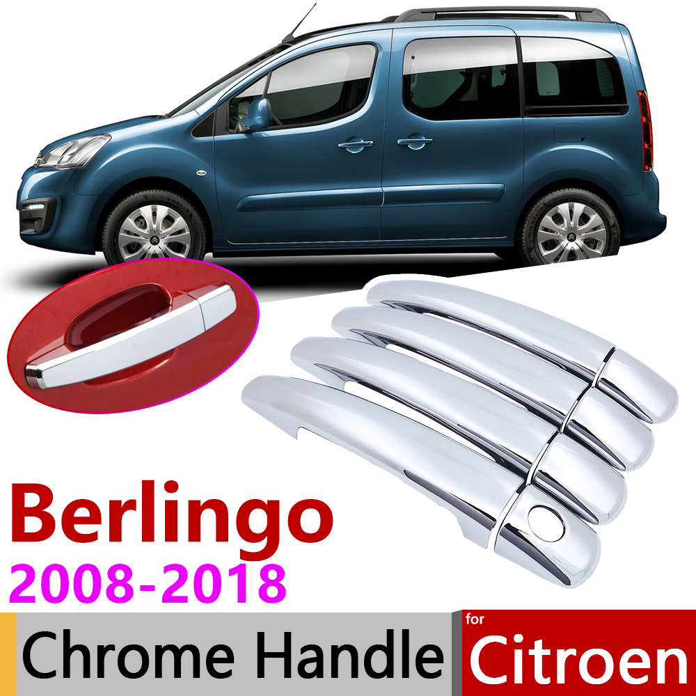 for <font><b>Citroen</b></font> <font><b>Berlingo</b></font> <font><b>2008</b></font>~2018 Chrome Door Handle Cover Car Accessories Stickers Trim Set 2009 2010 2011 2012 2015 2016 2017 image