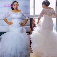 Vestidos De Novia Lace Wedding Dresses 2020 Plus Size Mermaid Bridal Gown Half sleeves Tiered Ruffles Sexy African Wedding Dress