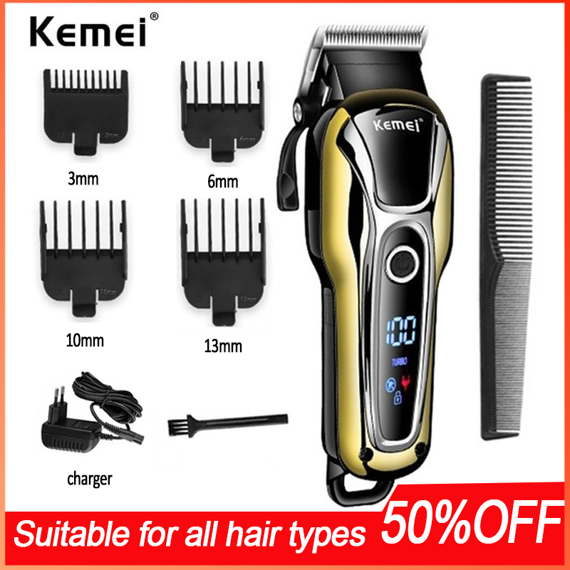 Kemei Hairdresser Hair Clipper Beard Trimmer Men's Hair Trimmer Cordless Haircut Power Display Electric HAIR Clipper 5