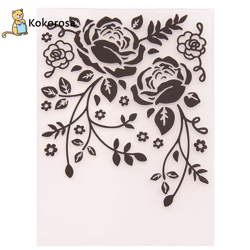 Kokorosa Embossing Folders DIY Making Paper Cards Craft Card Stencil Scrapbook Template Plastic Transparent Stamps Wedding Decor