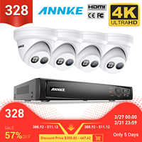 ANNKE 8CH 4K Ultra HD POE sistema de vídeo de red de seguridad 8MP H.265 + NVR con 4X 8MP 30m EXIR visión nocturna cámara IP impermeable