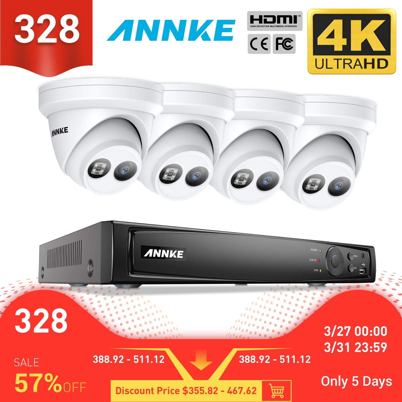 Annke 8ch 4 k ultra hd poe rede vídeo sistema de segurança 8mp h.265 + nvr com 4x 8mp 30m exir visão noturna à prova de intempéries ip câmera
