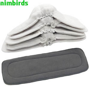 Boosters-Liners Diaper-Cover Nappies Charcoal-Insert Washable Bamboo Cotton Baby