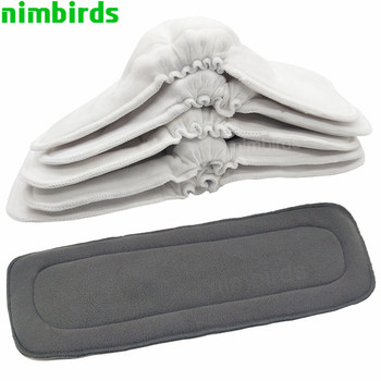 Reusable Washable Diaper Inserts Bamboo Cotton Elastic Inserts Boosters Liners For Baby Diaper Cover Nappies Charcoal Insert