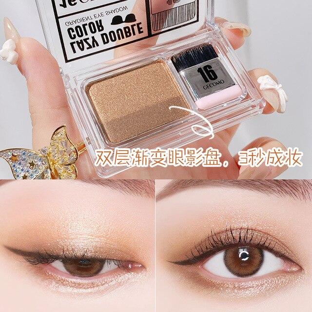 Double Color Gradient Lazy Eye Shadow Makeup Palette Glitter Waterproof Glitter Eyeshadow 5