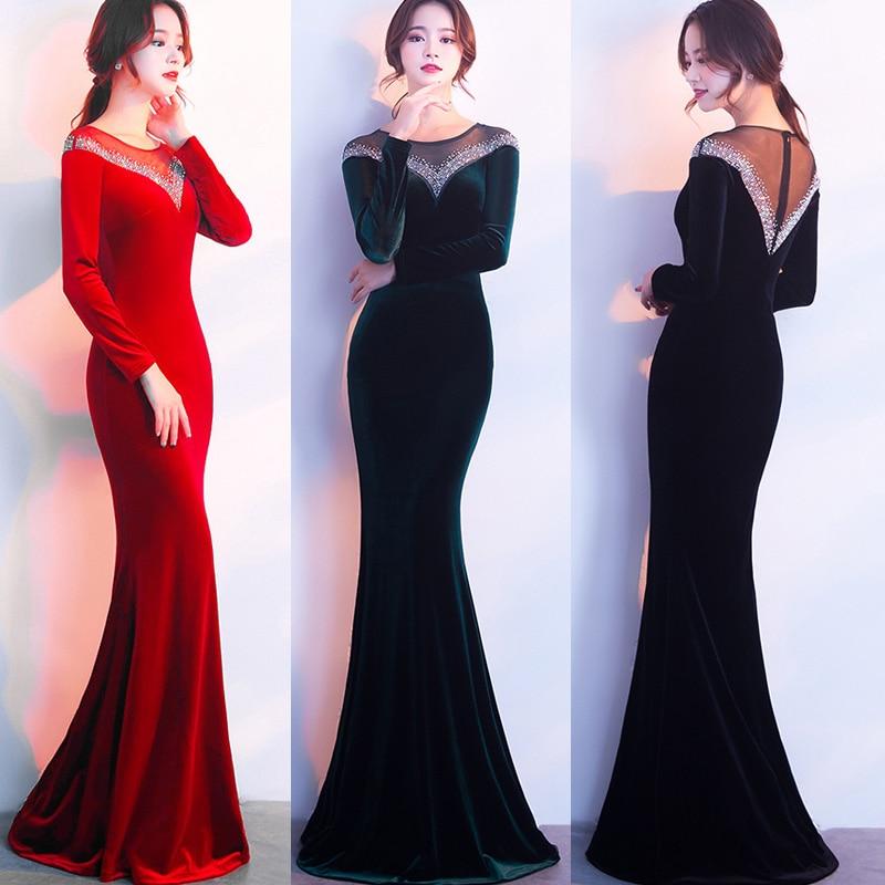 Luxe automne hiver femmes Sexy dos nu velours à manches longues robes de soirée femme élégant Maxi longue Robe de soirée robes rouges Robe