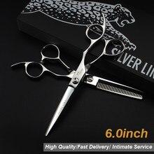6.0 Silver 440C Hair Scissors Case Cutting Scissors Thinning Scissors Hair Barber Barbearia Profissional Acessorios Tigeras