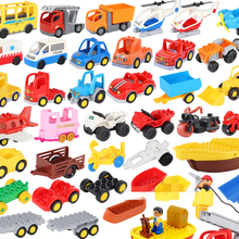 Modelo de carro crianças montar brinquedos grandes blocos de construção da cidade peças de tráfego veículo reboque chassi barco motocicleta compatível duplo