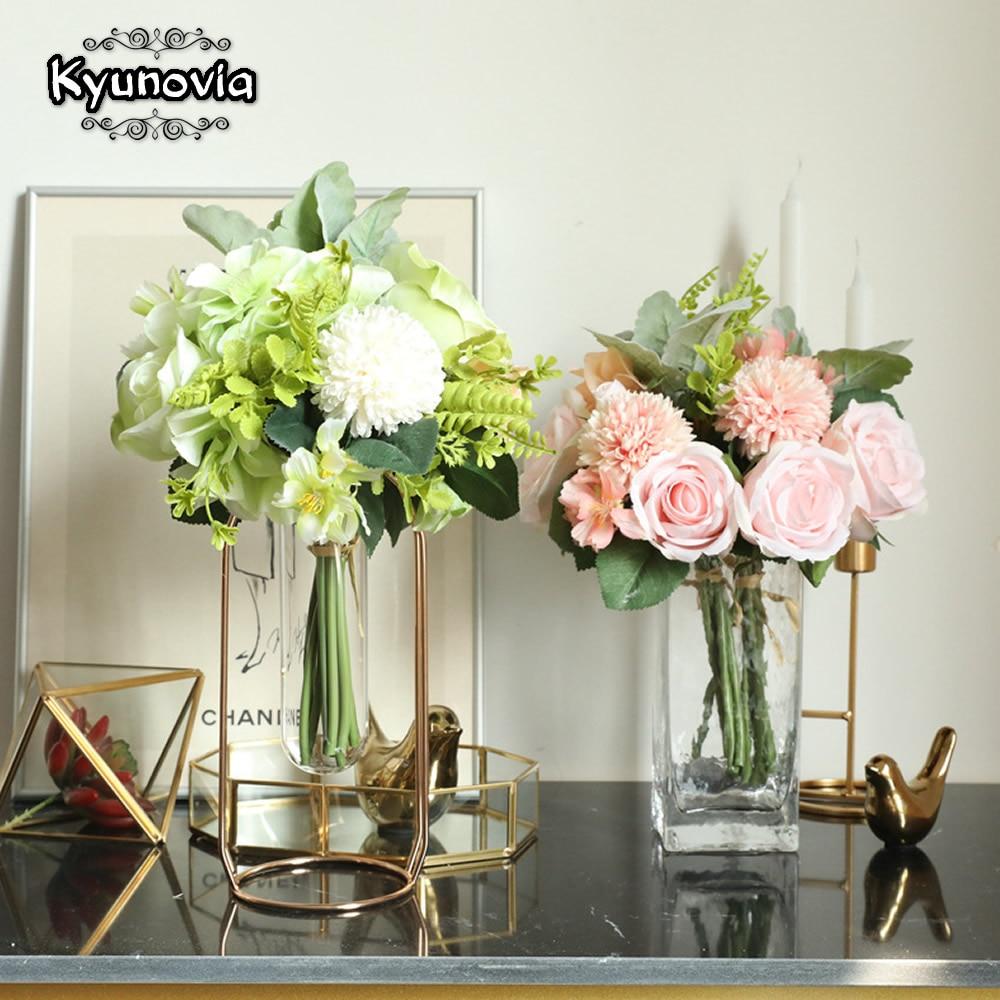 Kyunovia Artificial  Pink Flowers Bridesmaid Bouquet DIY Wedding Flowers Silk Hydrangeas Wedding Decorative Bride Bouquet BY32