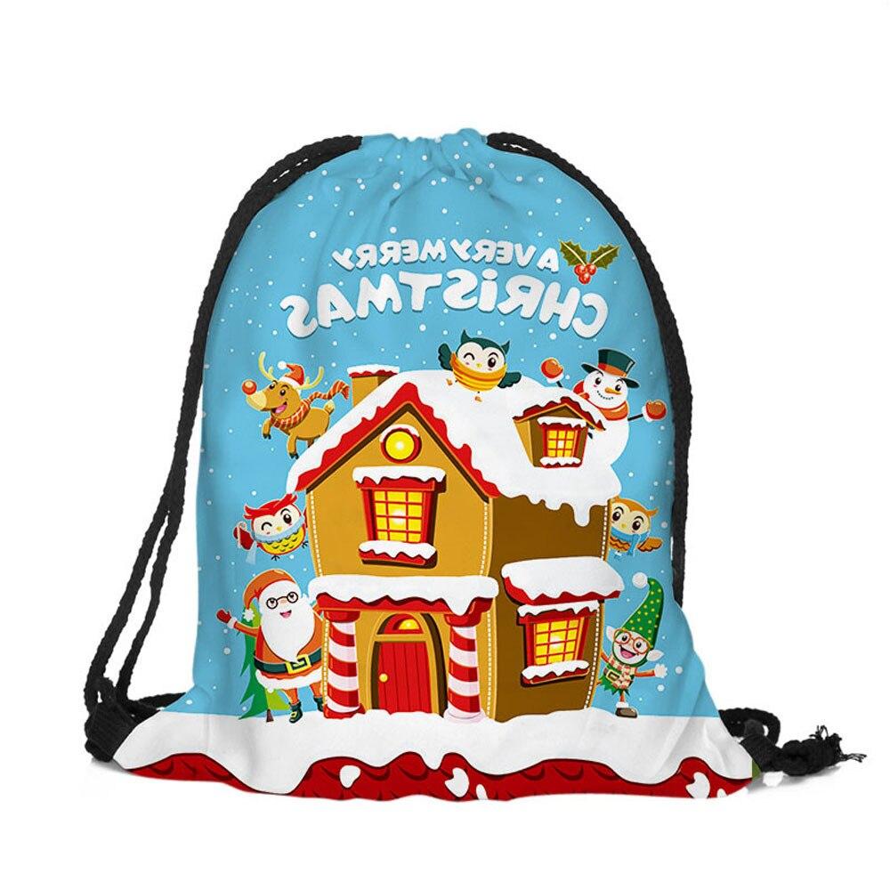 Merry Christmas Drawstring Bag Digital Print Bouquet Pocket Women Men Character Shoulder Bucket Girls Boys Fashion Soft Bags