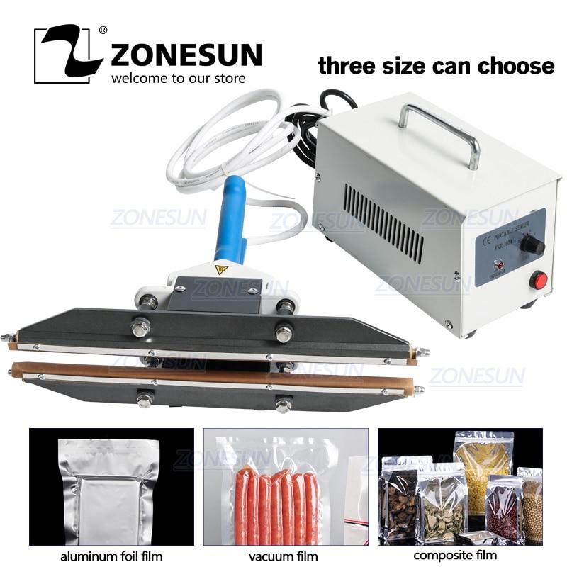 ZONESUN 200mm Direct-heat Plier Portable Impulse Sealing Machine Foil Bag Sealer For Aluminum Composite Film Snack Packaging