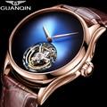 Новинка 2020, мужские часы GUANQIN Tourbillon, Топ бренд, роскошный скелет, мужские сапфировые механические часы, Relogio Masculino