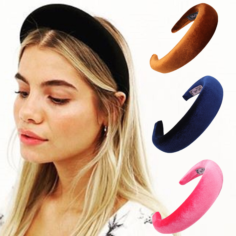 2019 solide Spong Stirnbänder Für Frauen Mädchen Gepolsterte Baumwolle/Satin/Samt Haarbänder Haar Hoop Damen Lünette Haar Zubehör