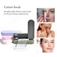 Многоразовые ватные палочки q-tip косметические ватные палочки моющиеся ушные палочки силиконовые палочки для мытья чистки макияжа и касания