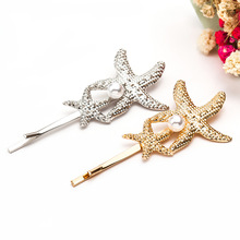 Europe Trendy Hair Clips for Women Starfish/Shell Shape 2 Color Metal Sticks Pearl Hairpins Jewelry Gift for Girlfriend YHA007 europe trendy hair clips for women starfish shell shape 2 color metal sticks pearl hairpins jewelry gift for girlfriend yha007