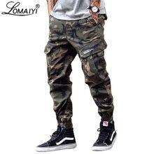 LOMAIYI Camo רצים גברים מכנסיים מטען Mens הצבאי שחור/הסוואה מכנסיים כותנה טהורה גברים של מטען מכנסיים עם כיסים BM305
